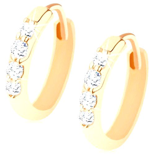 Kĺbové náušnice zo 14K zlata - krúžky zdobené líniou čírych zirkónikov