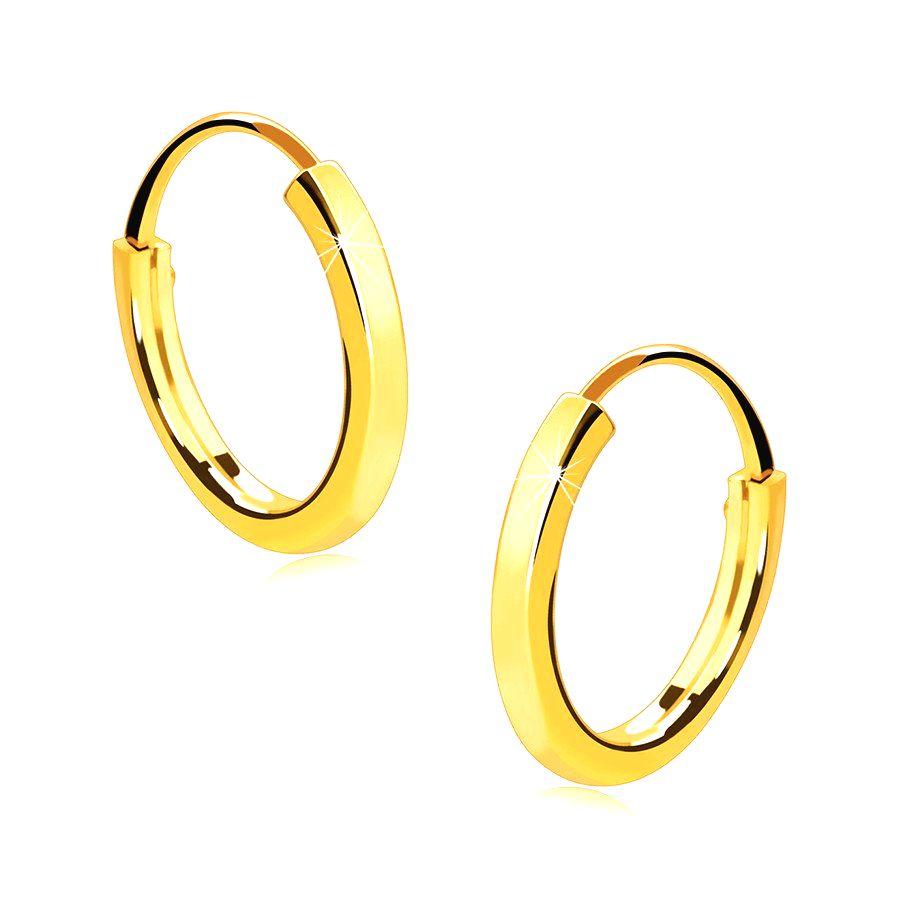 Malé okrúhle náušnice v 14K zlate - tenké hranaté ramená