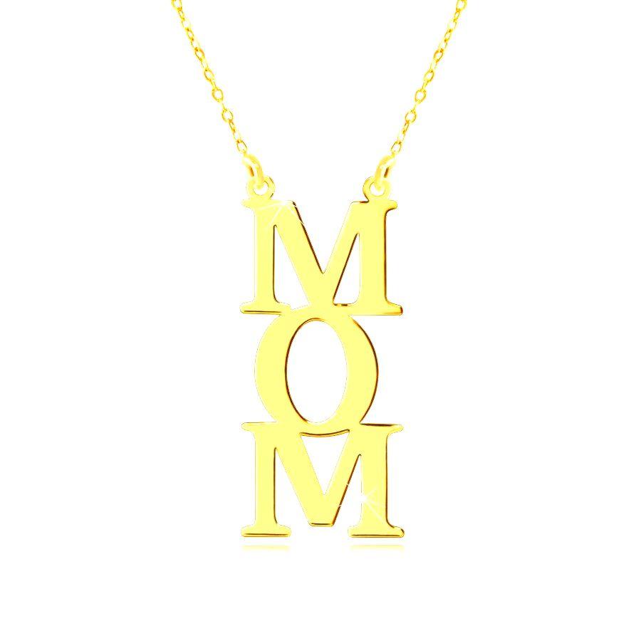 Náhrdelník zo žltého 14K zlata - nápis MOM