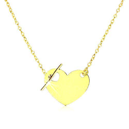 Náhrdelník zo žltého zlata 375 - pravidelné srdce so srdiečkovým výrezom a palička