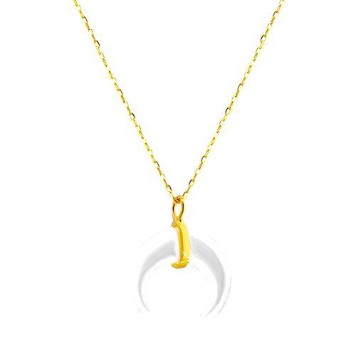 Náhrdelník zo žltého zlata 585 - motív perleťového mesiačika
