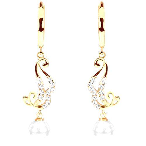 Náušnice zo žltého 14K zlata - krúžok s visiacim ornamentom a bielou perlou