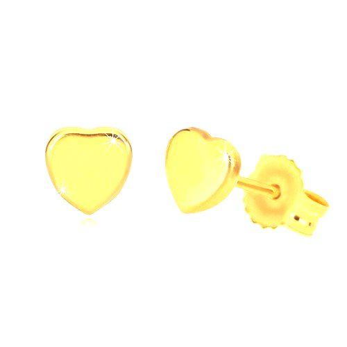 Náušnice zo žltého 14K zlata - lesklé symetrické srdiečko