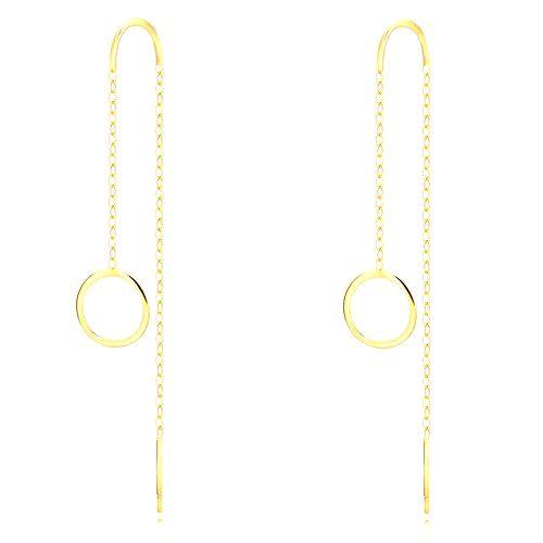 Náušnice zo žltého 9K zlata - lesklý krúžok