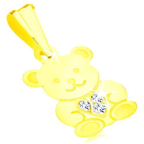 Prívesok v žltom 9K zlate - lesklý roztomilý medvedík