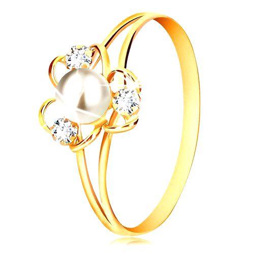 Prsteň v 9K žltom zlate - kvet s tromi lupienkami
