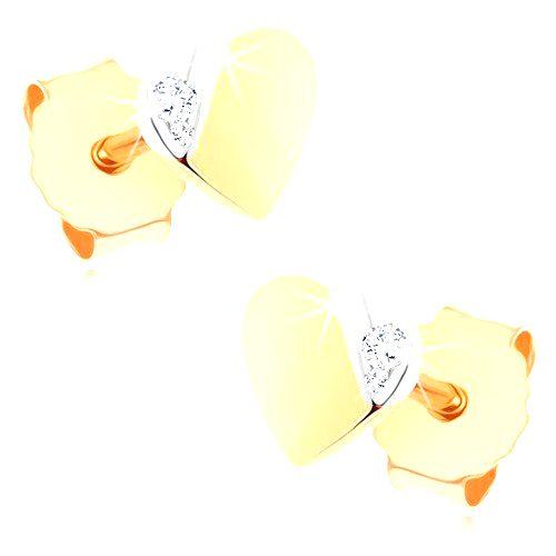 Puzetové náušnice zo zlata 375 - malé dvojfarebné srdiečko