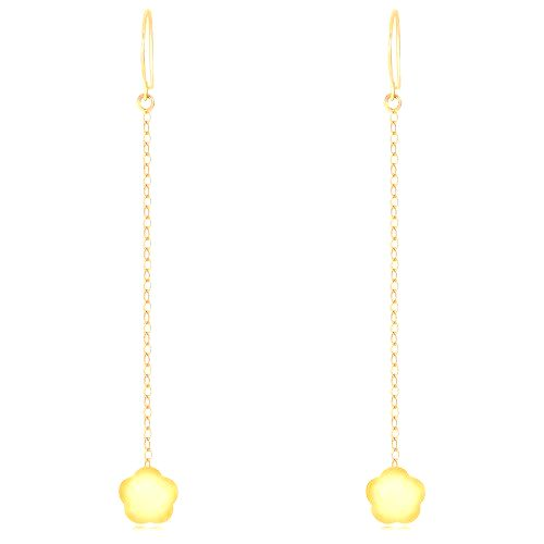 Visiace náušnice v žltom 9K zlate - lesklé kvety s piatimi lupeňmi