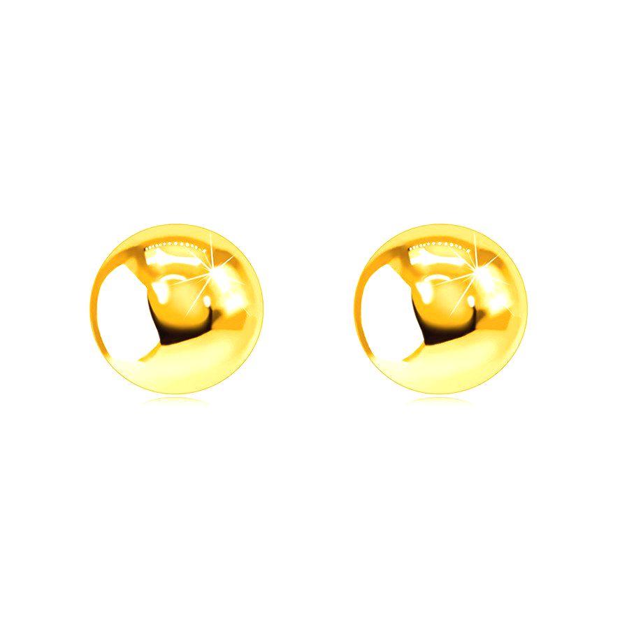 Zlaté 375 puzetové náušnice - zrkadlovoleské a hladké guličky