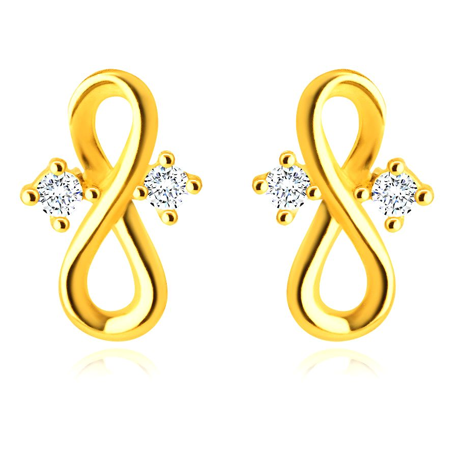 Náušnice v žltom 14K zlate - symbol nekonečna