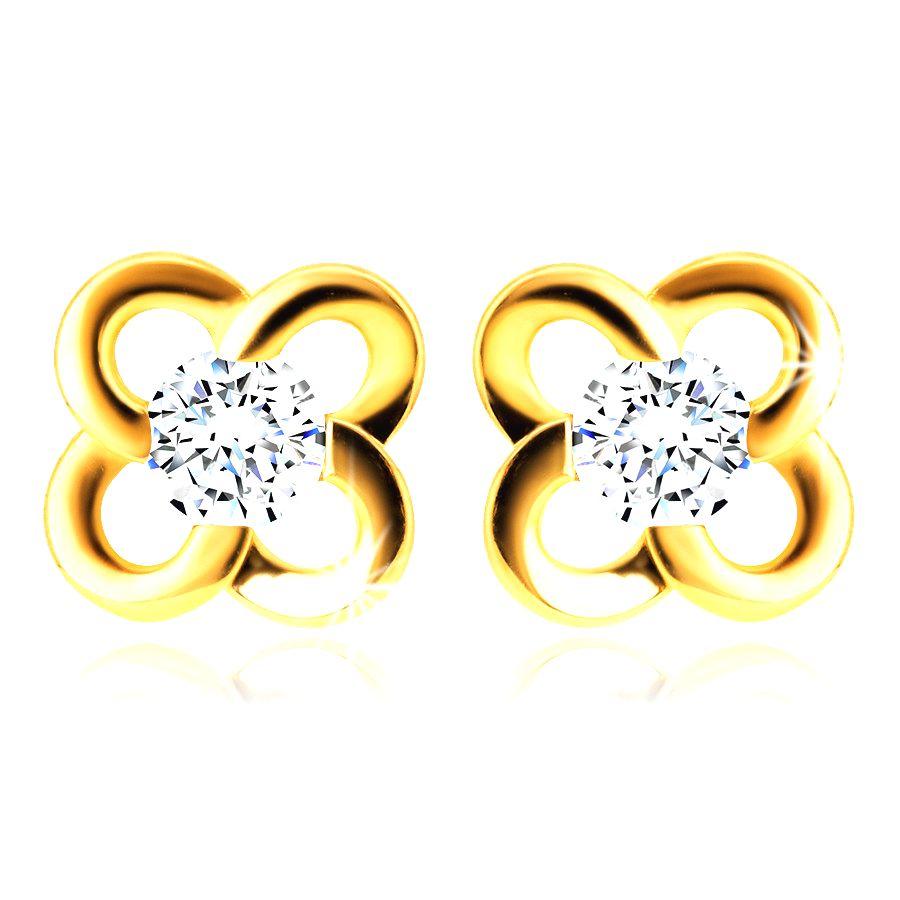 Náušnice zo zlata 585 - kvet s čírym zirkónikom