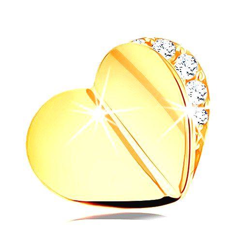 Prívesok v žltom 14K zlate - lesklé zalomené srdiečko
