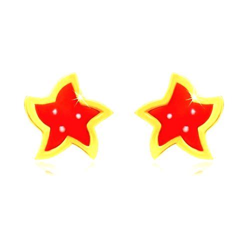 Zlaté náušnice 14K - hviezda s piatimi cípmi
