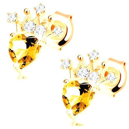 Zlaté náušnice 375 - zirkónová korunka