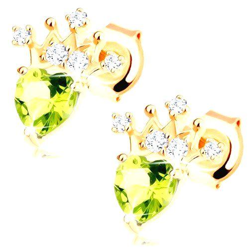 Zlaté náušnice 585 - srdiečkový zelený olivín