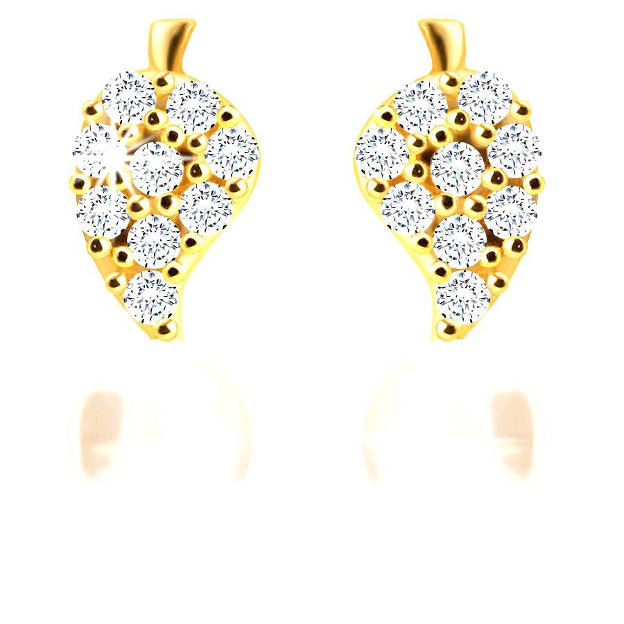 Zlaté puzetové náušnice 585 - obrátená zirkónová slzička a biela perla