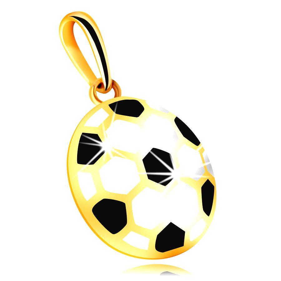 Zlatý 14K prívesok - vypuklá futbalová lopta s čiernou a bielou glazúrou
