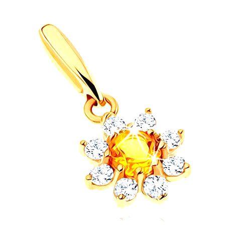 Zlatý prívesok 585 - rozkvitnutý kvet so žltým citrínom
