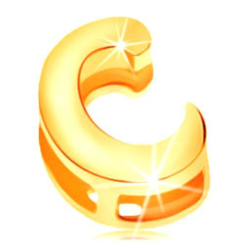 Zlatý prívesok 585 s lesklým a hladkým povrchom - tlačené veľké písmeno C