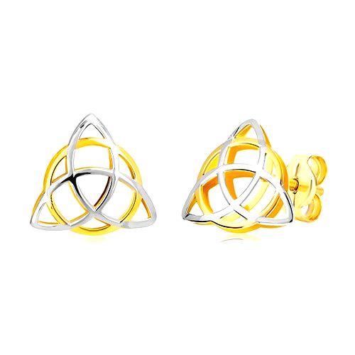 Dvojfarebné náušnice v 14K zlate - trojcípy keltský uzol s kruhom
