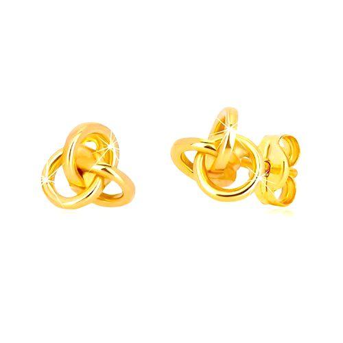 Náušnice v žltom zlate 585 - tri navzájom prepojené obruče