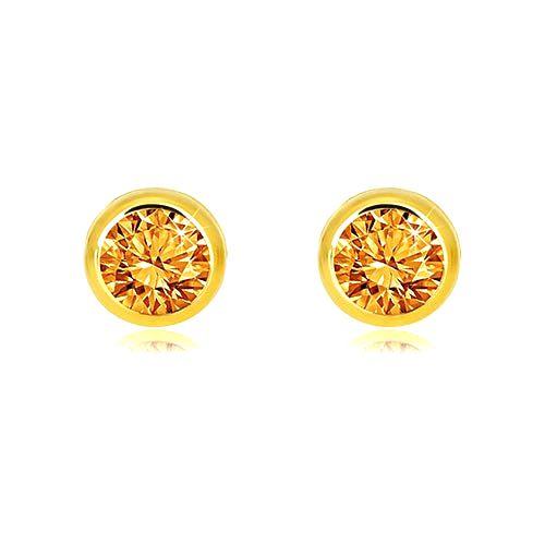 Náušnice zo žltého 14K zlata - prírodný citrín v objímke