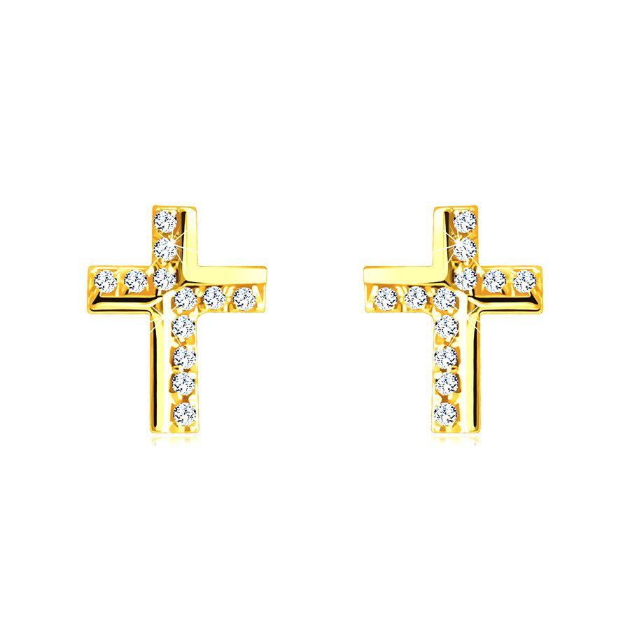 Zlaté náušnice z 9K zlata - krížik zdobený trblietavými zirkónikmi