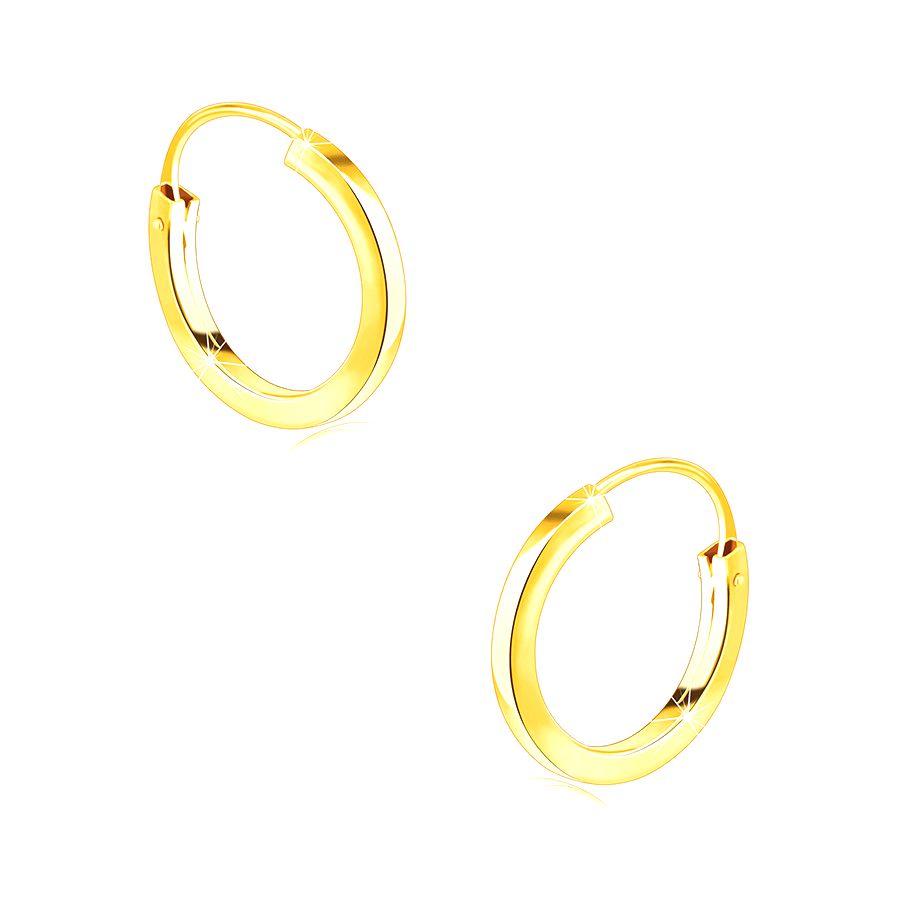 Zlaté okrúhle náušnice v 9K zlate - tenké ramená