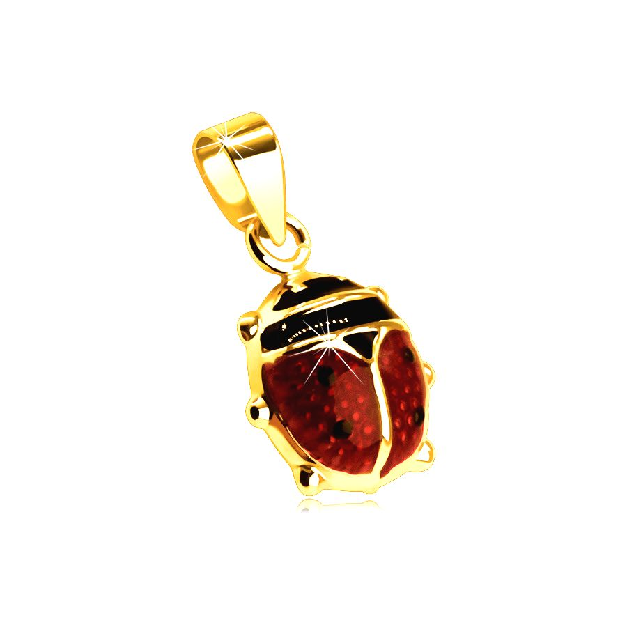 Zlatý 9K prívesok - väčšia vypuklá lienka pokrytá červenou a čiernou glazúrou